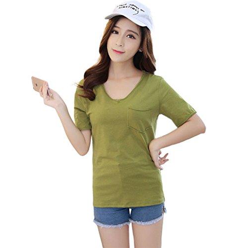 T-shirt Casual Manches Courtes Col rond Uni Chemisier pour Femme Vert