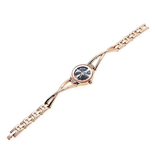 HuntGold Moda Mujer reloj de del rhinestone del cristal relojes de pulsera para Chica Regalo Brazalete - oro negro