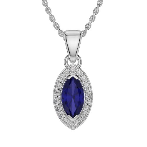 Or blanc/or/Rose/Jaune/Or/Platine forme marquise saphir et diamant collier agdnc-1069-vsgh