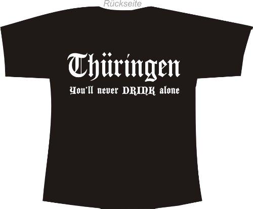Thüringen - You'll never drink alone; Polo-Shirt schwarz
