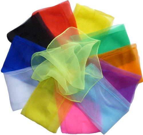 Hoerev® Kleine Packung mit 12 Juggling (Tanz) Schals 40cmx40cm (16