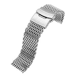 24mm Shark Mesh milanesa acero inoxidable reloj banda de plata de China Mart Industrial Co.