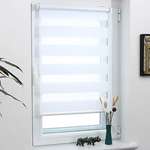 Grandekor Doppelrollo Klemmfix, Duo Rollos für Fenster und Tür ohne Bohren mit Klämmträger, Fensterrollo lichtdurchlässig & verdunkelnd - Weiß 75x120cm (Stoffbreite 71cm)