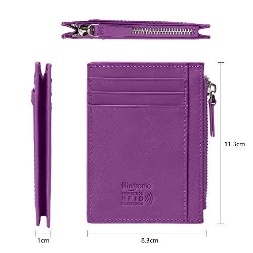 flintronic® Porta Carte di Credito e Tasche Pelle, RFID/NFC Blocco Portafoglio (#5 Porpora Con Cerniera)