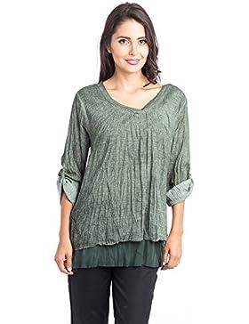 Abbino 7885 Shirts Tops para Mujeres - Hecho en ITALIA - 4 Colores - Entretiempo Primavera Verano Otoño Mujeres...