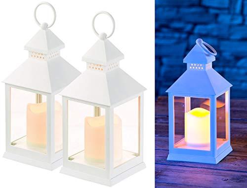 Lunartec Laterne mit LEDkerze: 2er Pack Laterne mit flackernder LED-Kerze und Timer, Batteriebetrieb (LED-Kerzen Outdoor)