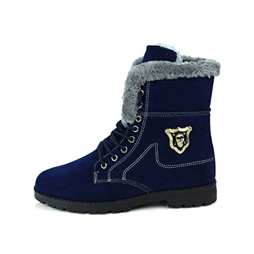 Men's Suede High Top Plush Warm Shoes blue