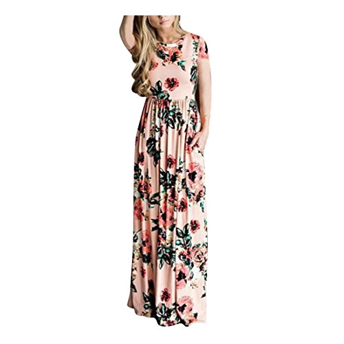 FeelinGirl Longue Grande Taille Robe Longue Boheme Robe Longue Robe Longue Fille Robes Longues Robes Longues Femmes Rose XXL