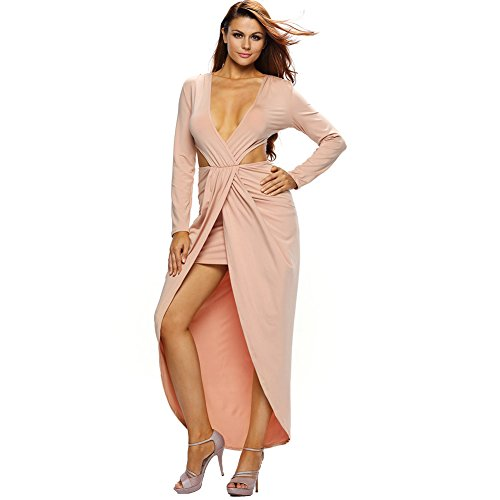 Erica Femmes Party / Cocktail Club V-cou Midriff Robe à manches longues Deep V-neck Mini Dress light brown
