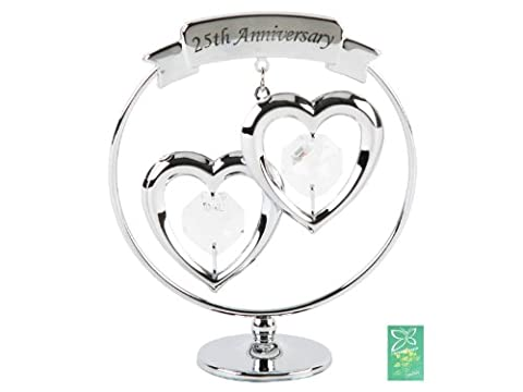 Crystocraft Keepsake Gift Ornament - Freestand Mobile 25th Silver Wedding