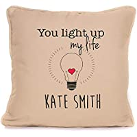 Valentines Day Or Wedding Anniversary Present For Him Her | Personalised 'You Light Up My Life' Throw Pillow | 18x18 Inch Cushion Pillow with Pad