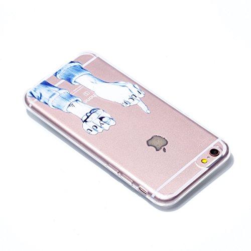Cover iphone 6/6s, iphone 6/6s custodia , Cozy Hut iphone 6/6s cover Morbido TPU Custodia [Ultra sottile] [Leggera] [Assorbimento-Urto] Paraurti in TPU Morbida Protettiva Case Cover Custodia Silicone  Medio dito e pugno