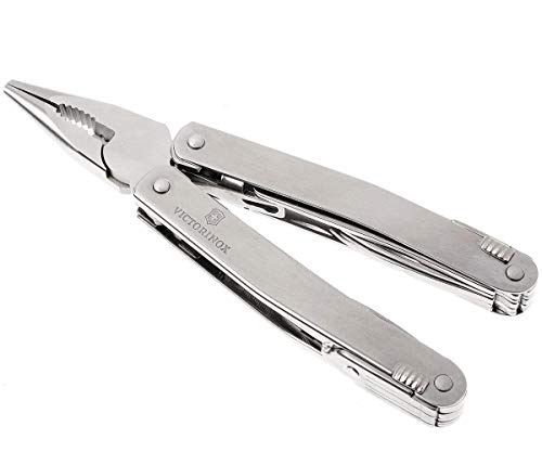 Victorinox Multifunktionswerkzeug Swiss Tool Spirit XC (24 Funktionen, Leder-Etui) silber