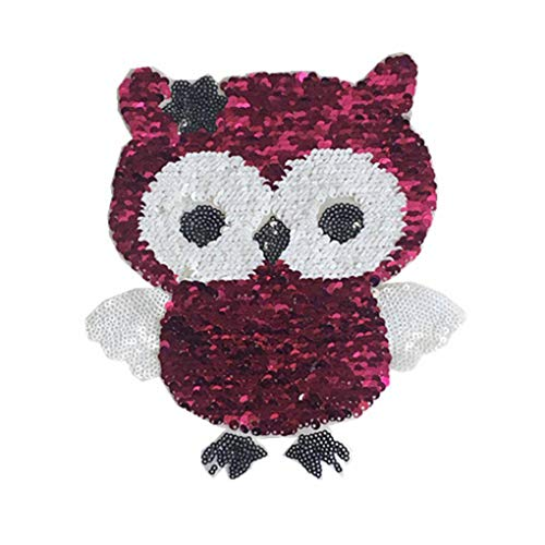 Dpolrs Doppelte Seiten Kleidung Paste Owl Bild Pailletten Applikation Reversible Kinder Tierkostüm Patches