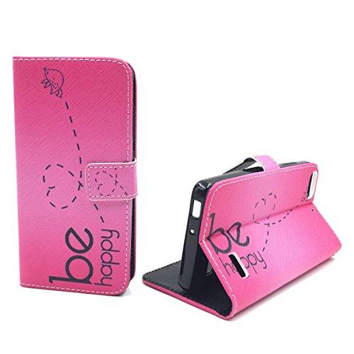 König Design Handyhülle Kompatibel mit Huawei G Play Mini/Honor 4C Handytasche Schutzhülle Tasche Flip Case mit Kreditkartenfächern - Be Happy Design Pink