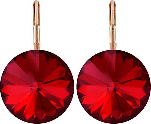 Rivoli Ohrhänger mit 14mm Swarovski-Kristall, rosé vergoldet, Farbe:scarlet