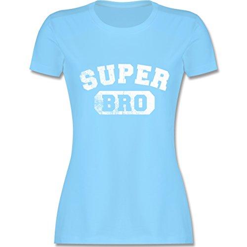 Statement Shirts - Super Bro - Vintage-&Collegestil - tailliertes Premium T-Shirt mit Rundhalsausschnitt für Damen Hellblau