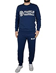 Franklin & Marshall Herren Stamp & Text-Logo-Sweatshirt Anzug, Blau