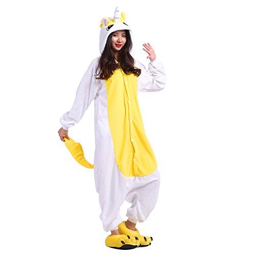 PALMFOX Pigiama Donna Uomo Unicorno Cosplay Animato Costume Camicie da Notte Carnevale Halloween Unicorno giallo