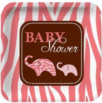 Wild Safari Pink Baby Dusche 22,9cm Mittagessen/Abendessen Teller