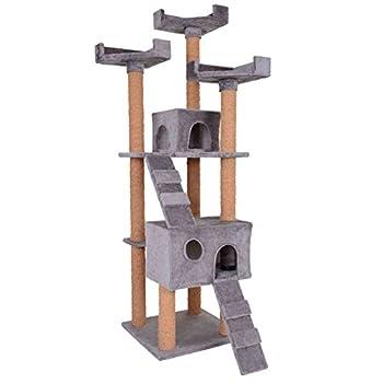 Leopet - Griffoir à chat Montage rapide Arbre à chat 173 cm Arbre de jeu pour chat Griffoir-grattoir à chat Meuble pour chat - Gris