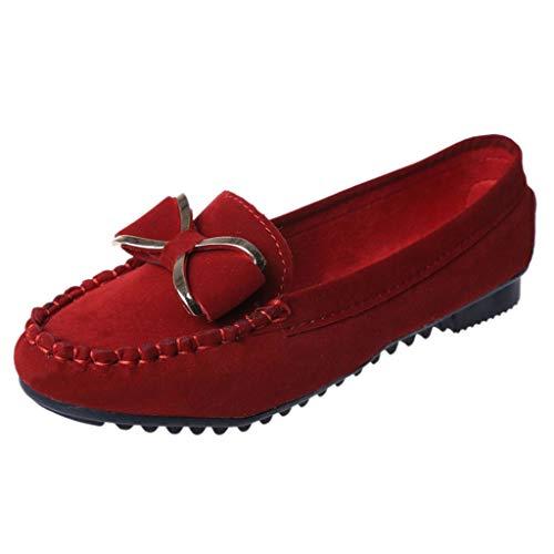 LANSKRLSP Scarpe Donna - Mocassini Donna di Pelle Nubuk con Fiocchetto Loafers Scarpe Casual Nero Rosso Blu Giallo 35-40