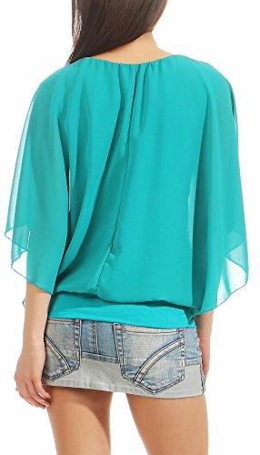 Malito Élégant Blouse Tunique Haut Loose Oversize 6296 Femme Taille Unique turquoise V