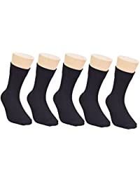 Footprints Organic Cotton SCHOOL Socks - Boys and Girls- Calf length- Pack of 5 (Black) - Extra soft and Breathable
