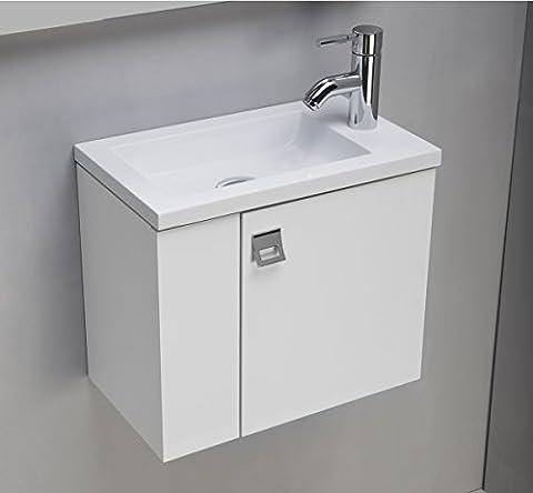 Plan Vasque Verre - Meuble salle de bains suspendue 43 Cm