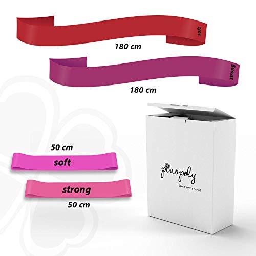 Pinopoly Fitnessbänder 4er Set je 2 Lange Bänder und 2 Loop Bands, Strong und Soft für Sport und Gymnastik - Resistance Widerstandsband Training - Thera und Loop Set ideal für Jede Frau