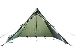 FIBEGA Ultralight Pyramid Tente Tipi en Silnylon, pour 2 personnes-Vert olive
