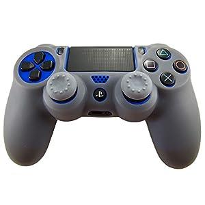 Pandaren® Silikon hülle skin Schutzhülle für PS4 controller (grau) x 1 + thumb grip aufsätze x 2