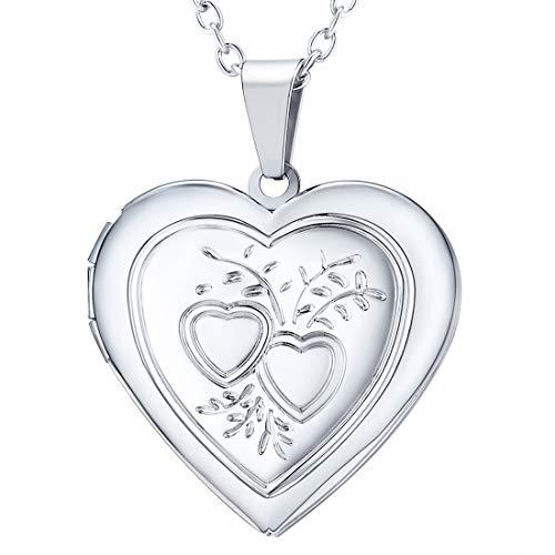 U7 collana pendente donna medaglione cuore scultura 2 cuori locket porta foto, catena regolabile, placcato platino, regalo natale per ragazza, con confezione, argento