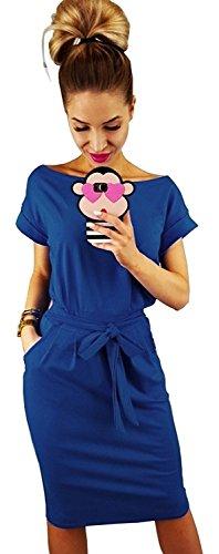 ALAIX Damen Kleider Kurzärmeliges Casual Sommerkleider Freiteits-und Arbeitskleid mit Gürtel Blau-L