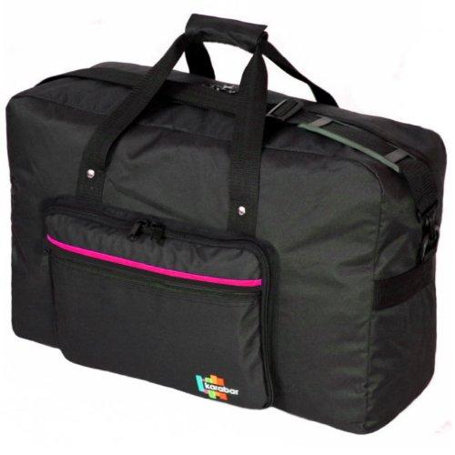 Karabars - Borsa bagaglio a mano, 55cm  Black-Orange medium Nero/Rosa