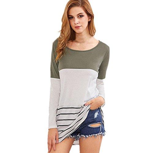 WINWINTOM Donne Posteriore Lace Color Block Top Banda A Manica Lunga T-Shirt Camicette (EU :36, bianco)