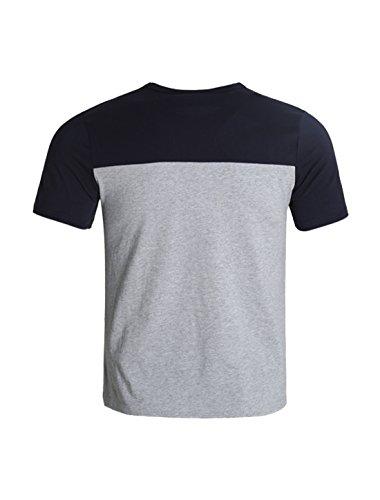 Allegra K Herren Mannschaft Ansatz Farben Block Kurzschluss Hülsen Paneled Basis T-Shirt Grau