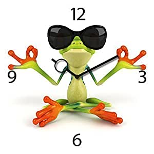 Horloge murale en verre au design tendance en forme de grenouille en méditation taille 30 x 30 cm
