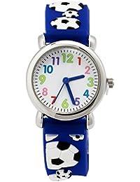 Montre Garçon Pédagogique pour Apprendre à l'heure avec Bracelet 3D en Caoutchouc Quartz Cadran Blanc Cadeau - Bleu Football