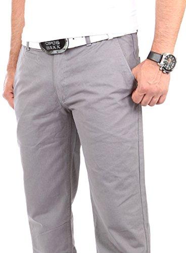 Reslad Chino Hose Herren, schwarz | Super bequem | Top Qualität | Moderne Stoffhose, Baumwollhose für Männer | Leichte Sommer-Hose, Freizeithose Regular fit für Herren und Jungen RS-2000 Grau