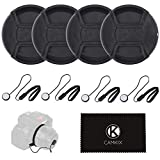 Lens Cap Bundle - 4 Snap-on Lens Caps for DSLR Cameras including Nikon, Canon, Sony - 4 Lens Cap Keepers / 1 CamKix Microfiber Cleaning Cloth included (55MM)