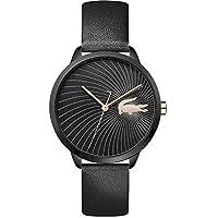 Lacoste Women'S Black Dial Black Leather Watch - 2001069