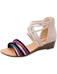 Sandales Femmes Dété Bohême Pantoufles Sandales Tongs Sandales Plates  Plage Chaussures de Plage Pas Cher Sandales Été Pente… a16d116e223a