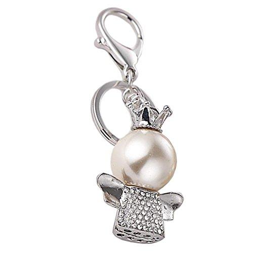 Hosaire 1x Keychain Damen Taschenanhänger Mode Kleiner Engel mit Perle Anhänger Schlüsselbund Auto Schlüsselanhänger Rucksack Deko Anhänger