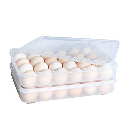 baoyouni 2von Kühlschrank Lagerung Organizer Ei Bin-mit Deckel für Schutz-stapelbar Ei Halter, 24Eier