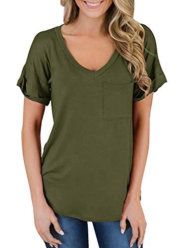 V-ausschnitt Tasche Auf Der Vorderseite (Yidarton Damen T-Shirt Sommer Loose Kurzarm V-Ausschnitt Oberteile Bluse Tops mit Tasche (XL, Armeegrün))
