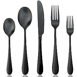 AOOSY Negro Mate de Acero Inoxidable Cubiertos Cubertería Set, cucharas Tenedores Cuchillos, Servicio para 1