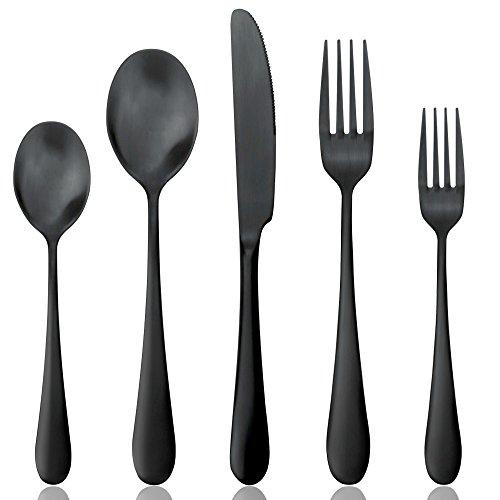 AOOSY 20 PIÈCES Couverts de Table Couverts en Inox Ensemble de Coutellerie Ménagère Couteau et fourchette en acier inoxydable pour 4 (Noir Mat)
