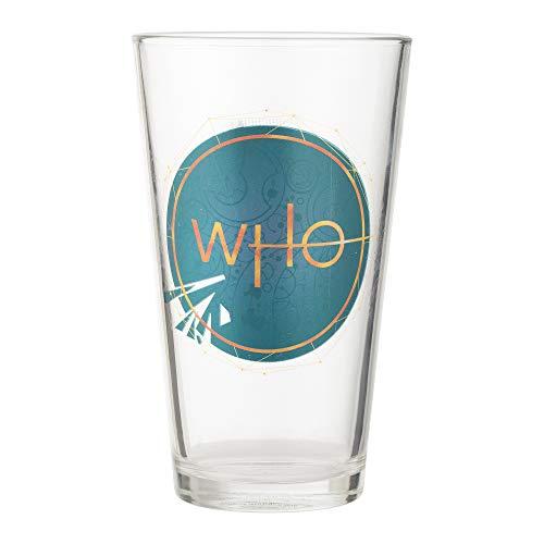 Vandor 56419 Doctor Who S11, 2 Stück, 454 ml Laser Aufkleber Glas Set Blau/Gold -