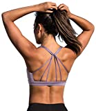 icyzone Yoga Sport-BH Damen Bustier mit Gepolstert - Atmungsaktiv Ohne Bügel Sports Bra Top (L, Lilac)